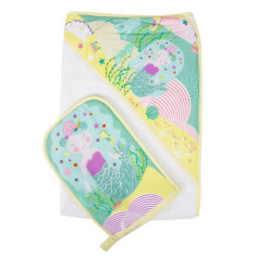 WEEGOAMIGO Mitt Washer / Hooded Towel - Mermaid Waters