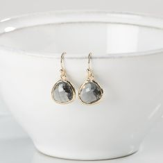 Smokey Grey and Gold Raindrop Earrings