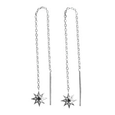 Falling Star Thread Earrings in Sterling Silver