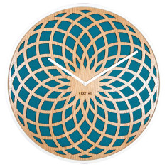Dream Catcher Sun wall clock 35cm - wood & fabric (Turquoise)