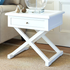 Cross leg side table in white