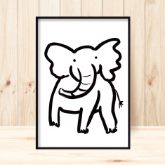 Baby elephant children's art print (more colours)