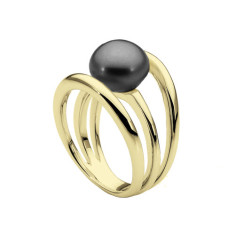 Three Band Pearl Ring (Yellow Gold)