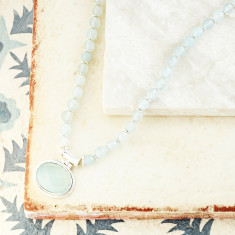 Lottie Pendant Necklace with aqua chalcedony in silver