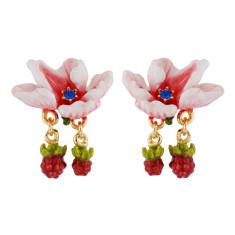 Pink flower and raspberries earrings