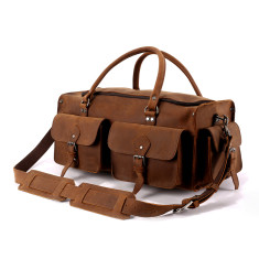 Leather Squared Travel Bag Weekender In Tan - XL
