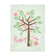 Birds in a tree personalised fleece blanket
