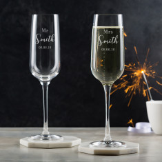Pair Of Mr & Mrs Personalised Champagne Flutes
