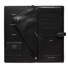 Personalised women's leather travel folio in black
