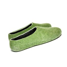 Men's Handmade Wool Slippers In Tree Green