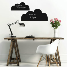Repositionable chalkboard clouds wall decal