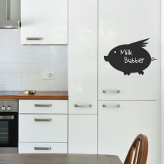 Repositionable chalkboard pig wall decal