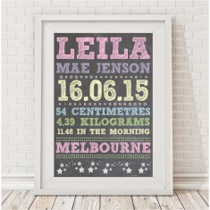Chalk style personalised baby's birth print