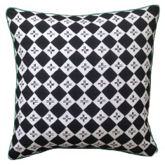 Black and white checkers linen cushion
