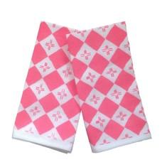 Flamingo pink checkers linen napkins (set of 4)