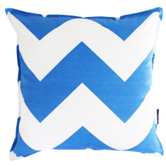 Chevron cushion cover in marine blue