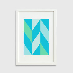Chevron pattern framed art print in blue