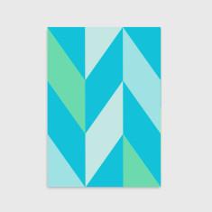 Chevron pattern art print in blue