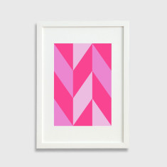 Chevron pattern framed art print in pink
