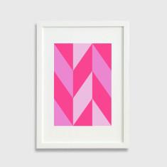 Chevron pattern framed art print in pink