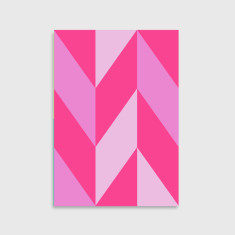 Chevron pattern art print in pink
