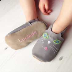 Personalised children's cat slippers
