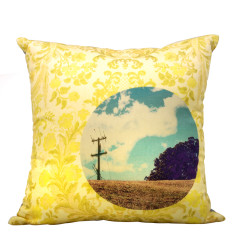 Chintz landscape cushion