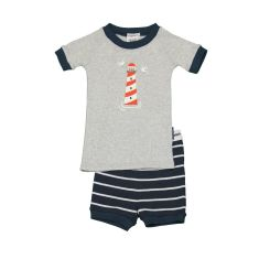 Boys' Charlie stripe lighthouse shortjohn pj set