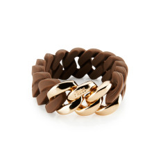 Woven bracelet in choco & rose gold