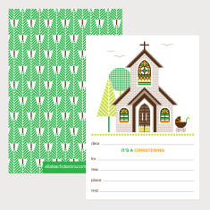 Christening Invitations - Green (Pack of 12)