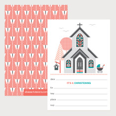 Christening invitations in melon (Pack of 12)