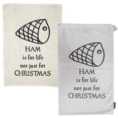Ham is for life! ham bag & tea towel Christmas pack