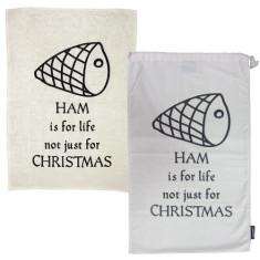 Ham is for life! ham bag & tea towel Christmas pack