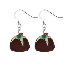 Christmas plum pudding earrings
