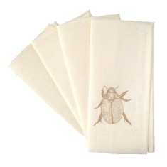 Christmas beetle linen napkins in gold (set of 4)