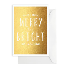 Merry and bright gold foil card
