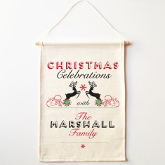 Personalised surname Christmas wall banner (various designs)
