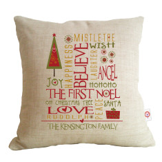 Christmas collage personalised cushion