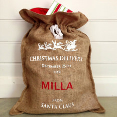 Personalised hessian Christmas sack from Santa in white print