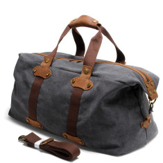 Grey Canvas Weekend Duffle Bag