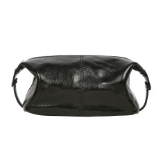 Tino-pop black leather toiletry bag