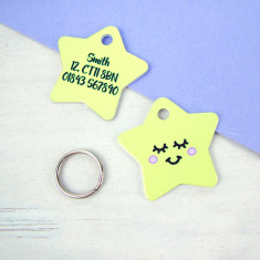 Happy Star Pet Name Tag Personalised