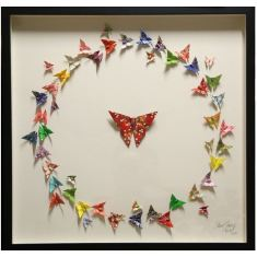 Framed circle of life butterfly origami artwork