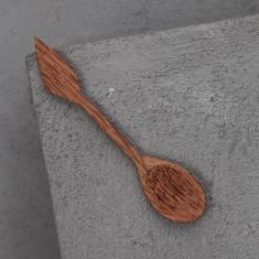 Hand carved 14cm Coconut wood arrow spoon (2 pieces)