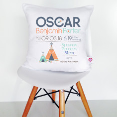 Boys' Personalised Birth Chart Cushion Covers (various designs)