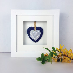 Framed Foil Heart Anniversary Slate Ornament