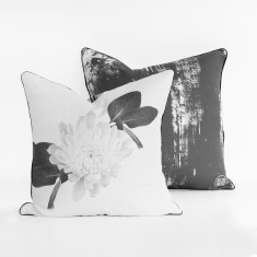 White Flower & Ink Smudge Cushion Cover