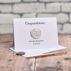 Personalised Laurel Wedding Engagement Badge Card