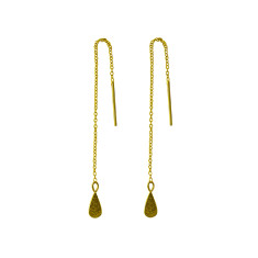 Tear Drop Thread Earrings in 18 KT Yellow Gold Plate