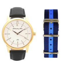 Classic Gold Watch with Black Leather Strap & Travel Case